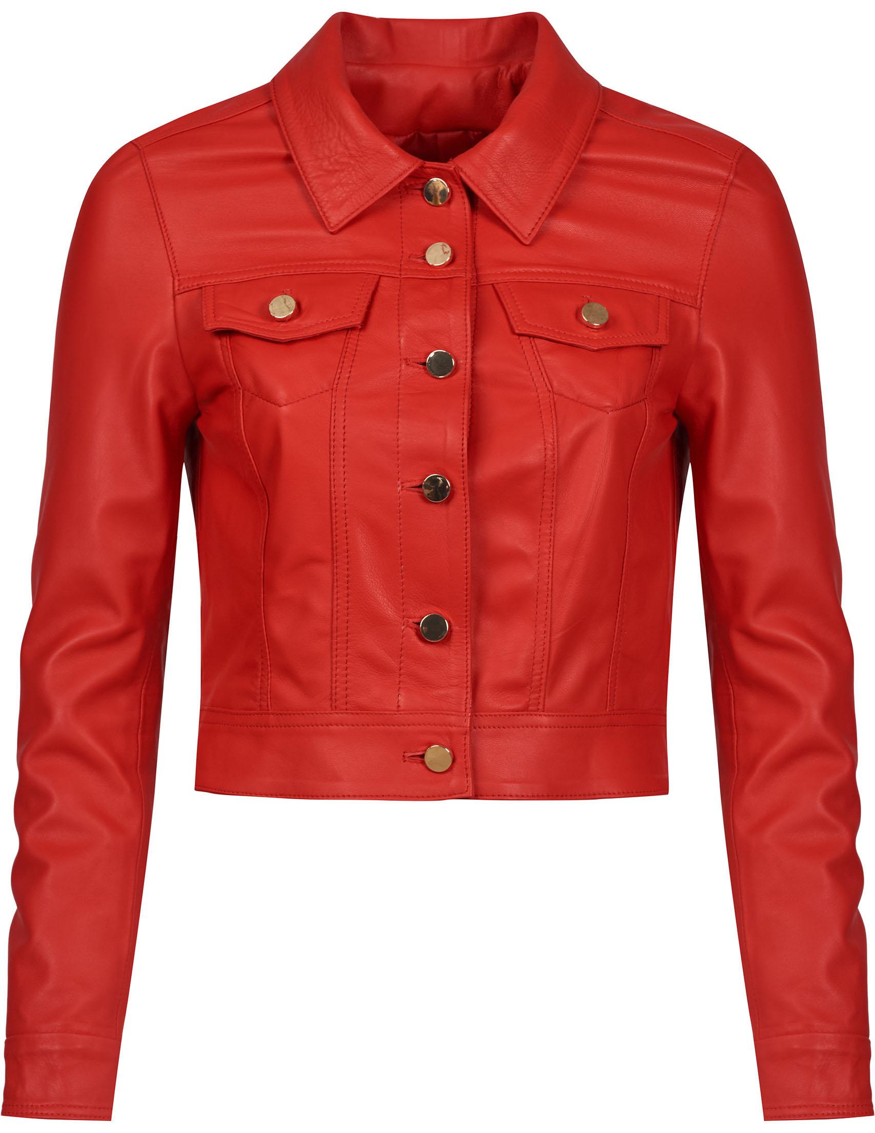 Купить Куртки, Куртка, ALBANO, Красный, 100%Кожа, Весна-Лето