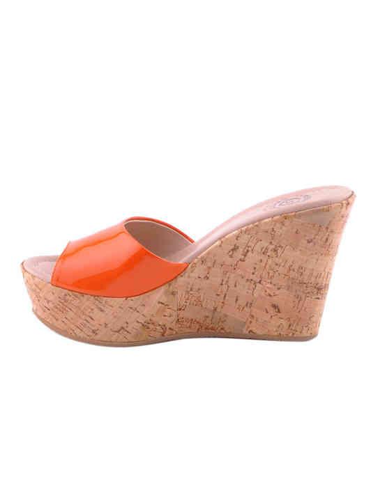 женские оранжевые лакированные Шлепанцы Massimo Santini 7901 - фото-5