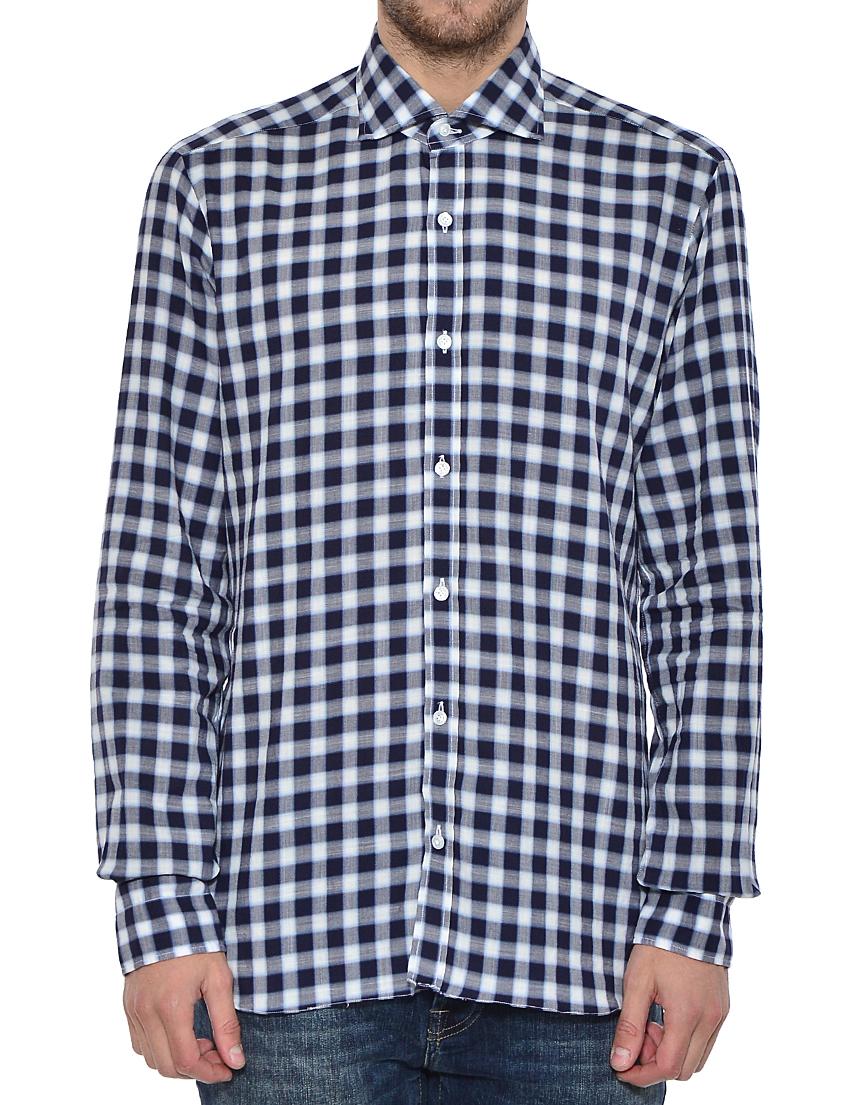 Купить Рубашка, BARBA NAPOLI, Белый, Черный, 100%Хлопок, Осень-Зима