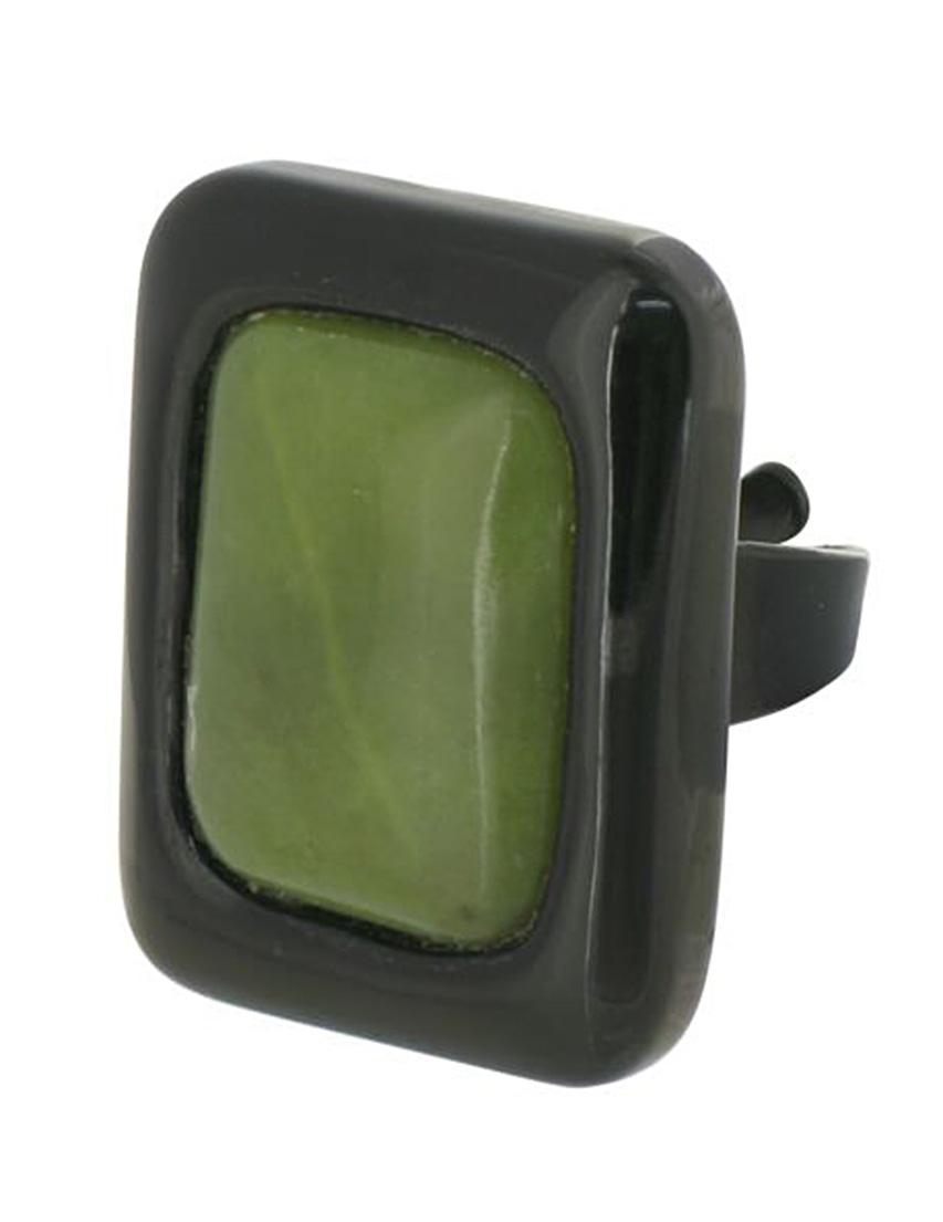 Купить Кольцо, NATURE BIJOUX, Зеленый, Черный рог, антиаллергенный сплав, Осень-Зима