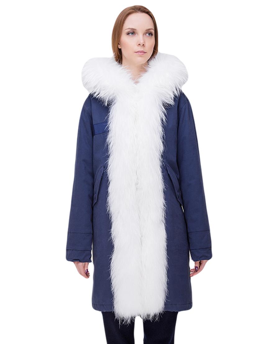 Купить Куртка, TSAREVNA, Синий, 98%Хлопок 2%Другие волокна; подкладка - мех лисы, подкладка рукавов - 100%Полиамид, отделка - мех енота; мех кролика, Осень-Зима