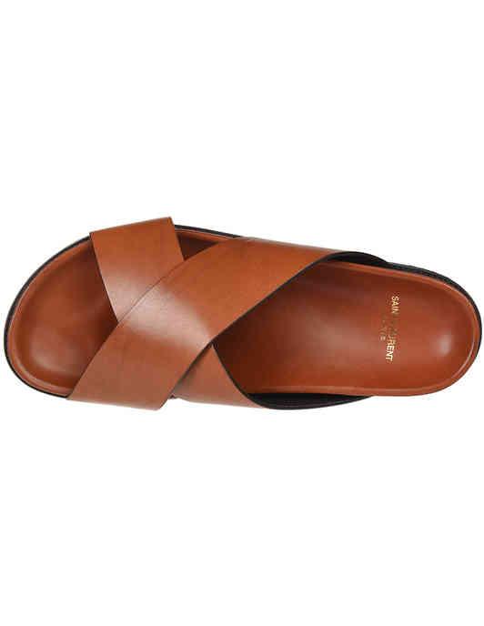 коричневые Шлепанцы Saint Laurent Paris 502090-7660_brown размер - 41; 42; 43.5