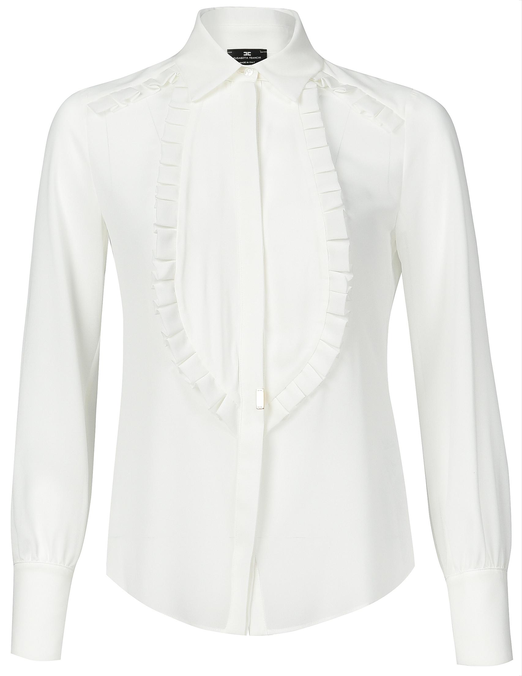 Купить Блуза, ELISABETTA FRANCHI, Белый, 100%Полиэстер, Осень-Зима