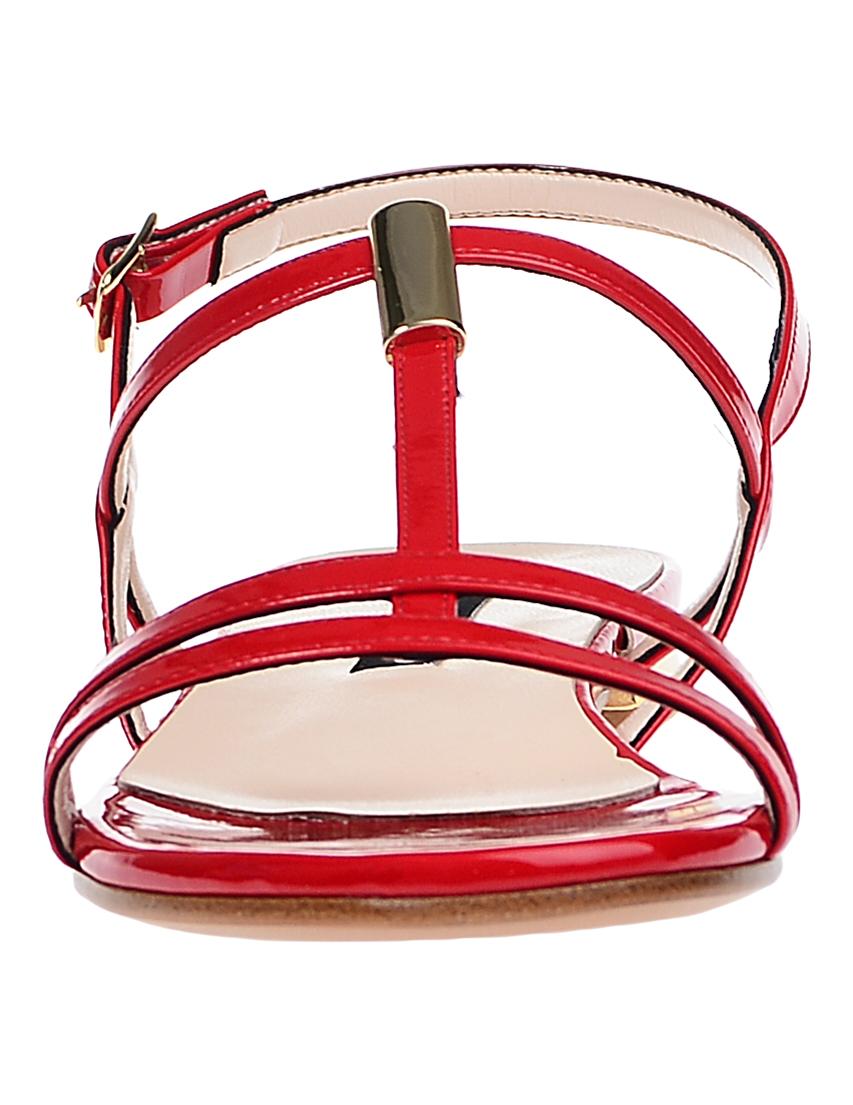 Фото 4 - женские сандали  красного цвета