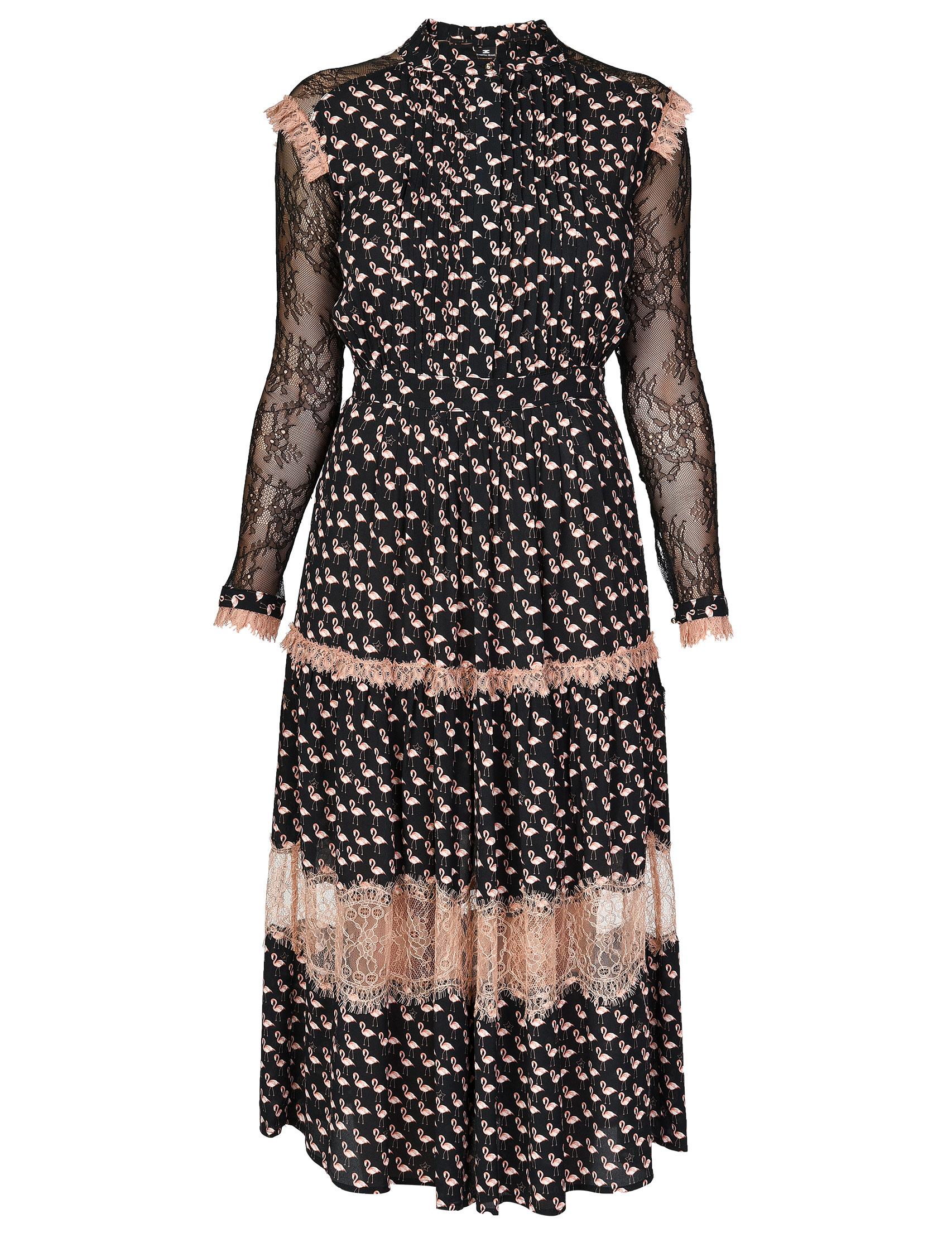 Купить Платье, ELISABETTA FRANCHI, Черный, 100%Вискоза;100%Полиамид, Осень-Зима