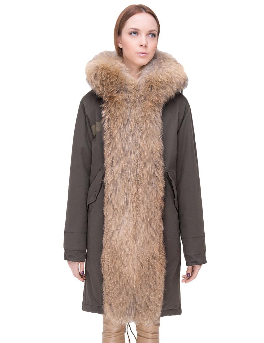 Купить Куртка, TSAREVNA, Зеленый, 98%Хлопок 2%Другие волокна; подкладка - мех лисы, подкладка рукавов - 100%Полиамид, отделка - мех енота; мех кролика, Осень-Зима