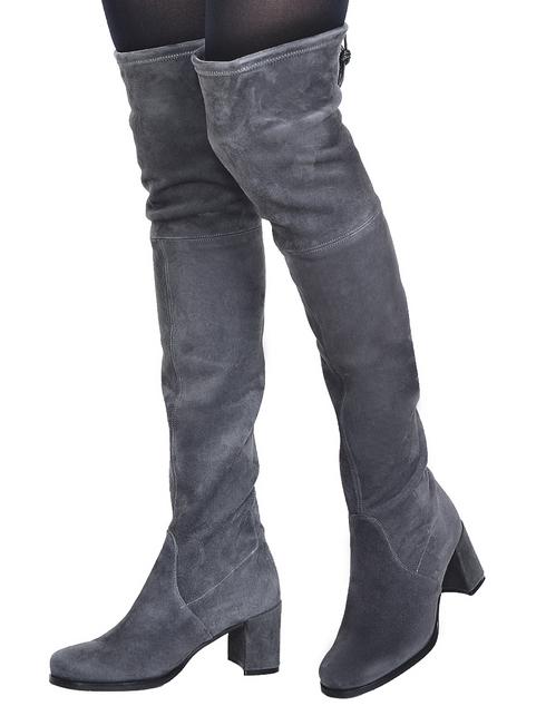 женские серые замшевые Ботфорты Pertini 174_gray - фото-5