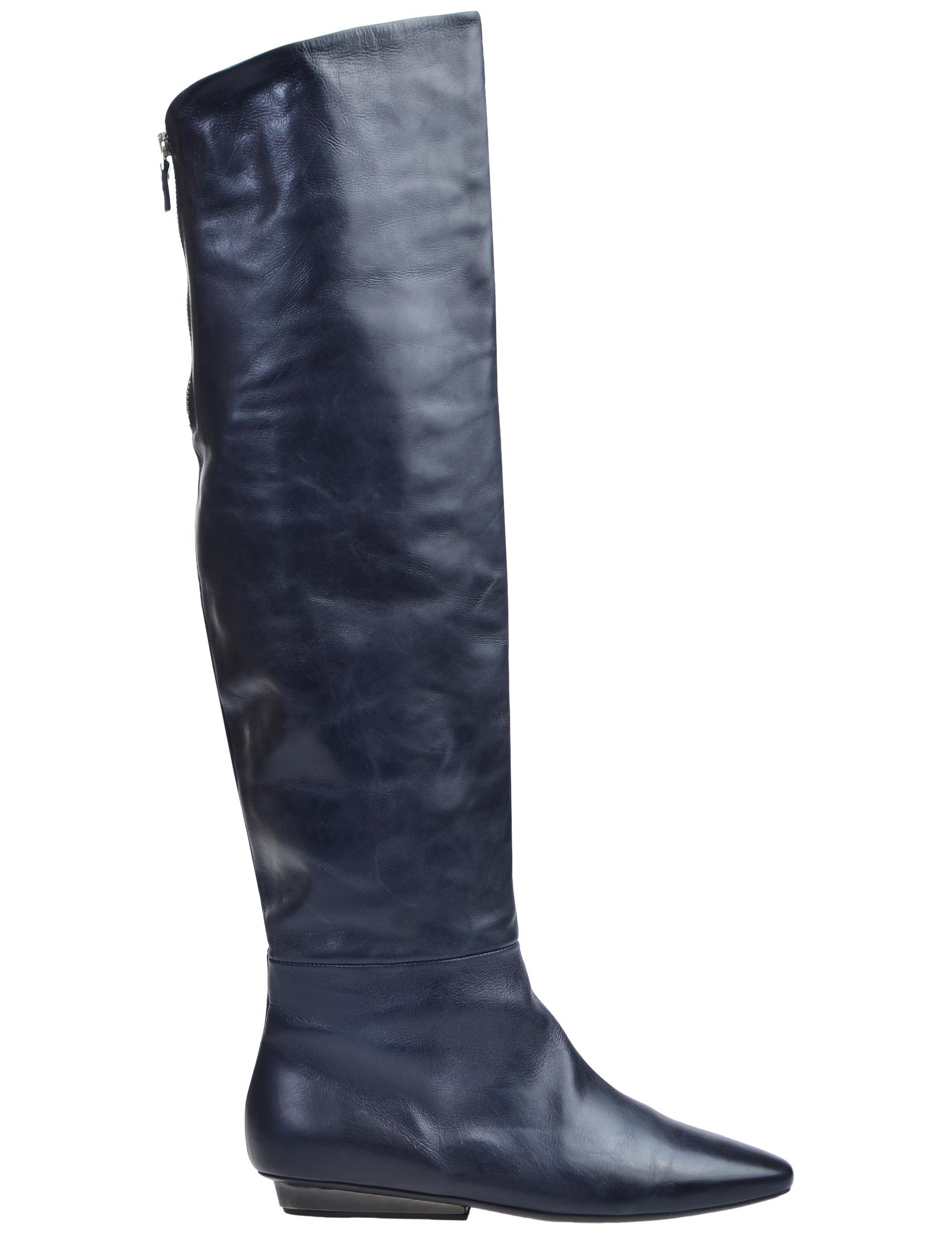 Фото 3 - женские ботфорты  синего цвета