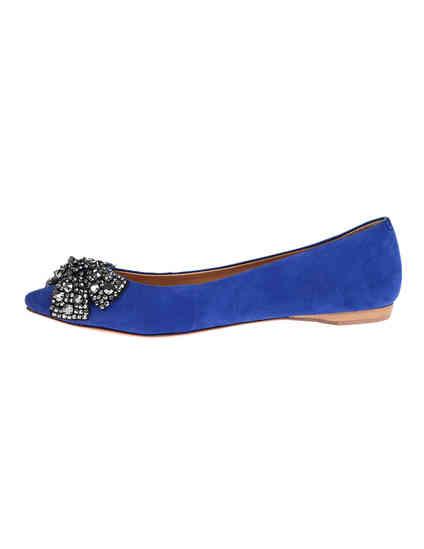 женские синие замшевые Балетки Schutz 1622_blue - фото-5
