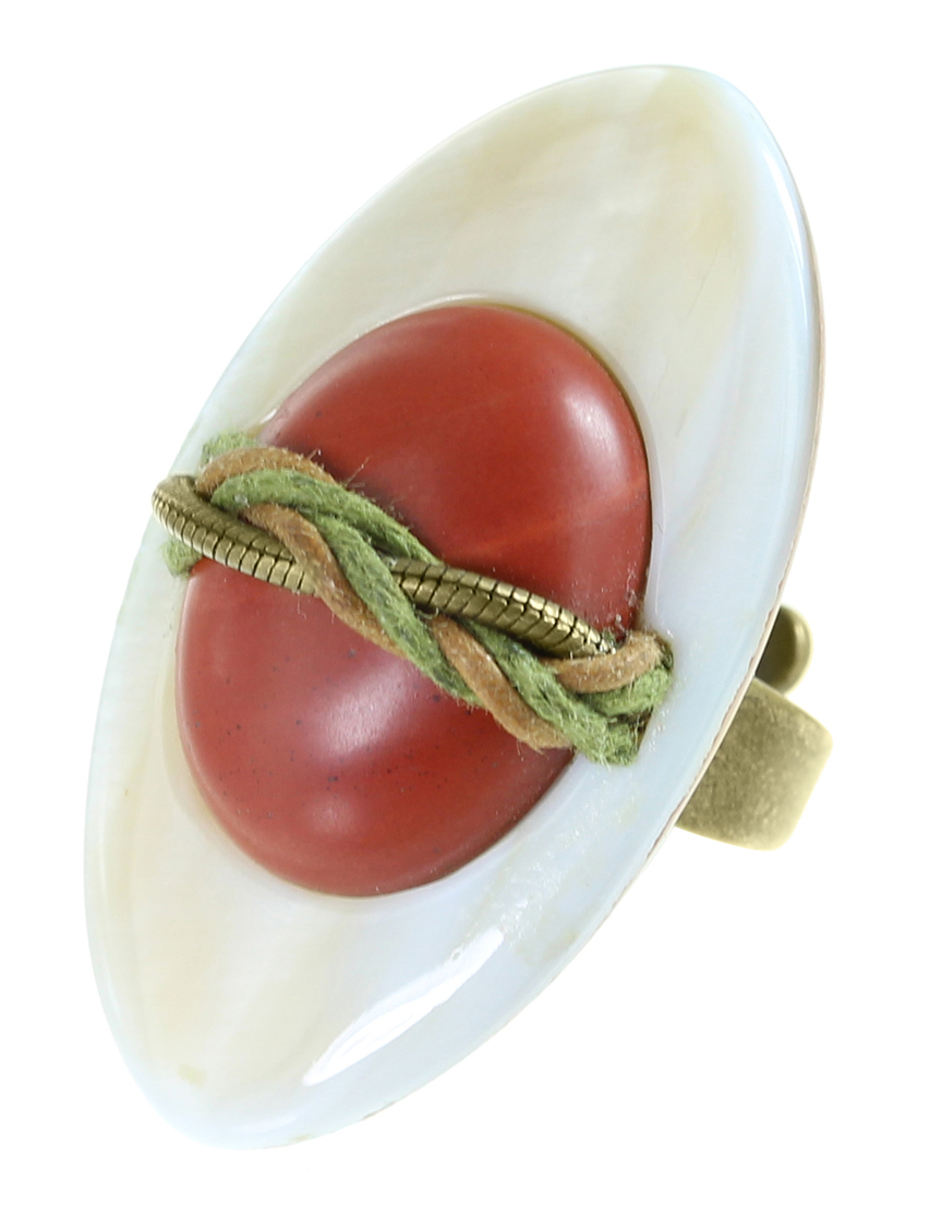 Купить Кольца, Кольцо, NATURE BIJOUX, Красный, Керамика, морская раковина, антиаллергенный сплав, Осень-Зима