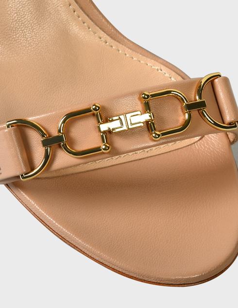 женские бежевые кожаные Босоножки Elisabetta Franchi SA-98L-11E2-V420-470 - фото-5