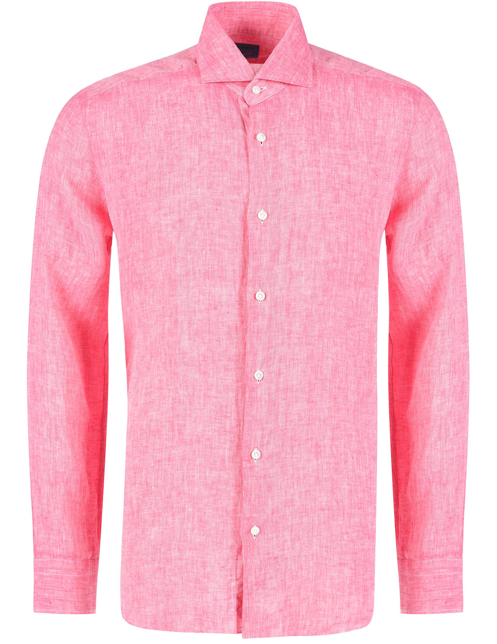 Купить Рубашки, Рубашка, BARBA, Розовый, 100%Лен, Весна-Лето