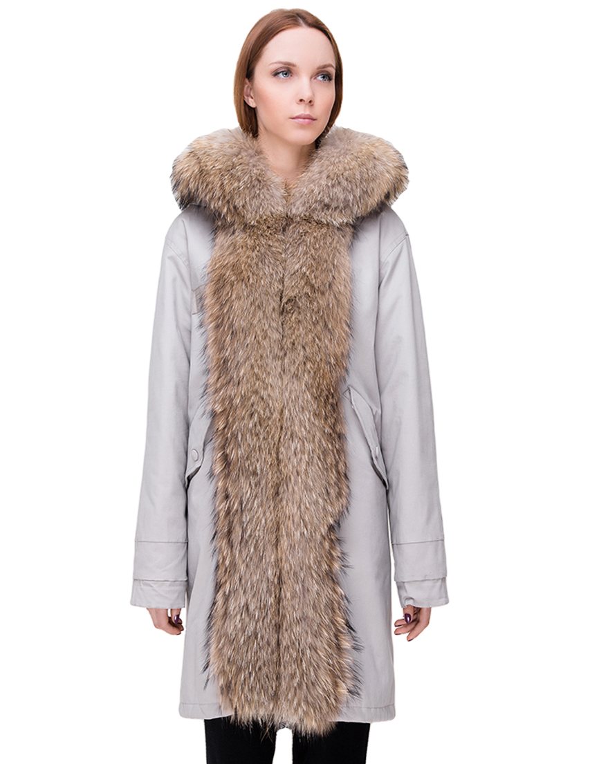 Купить Куртка, TSAREVNA, Бежевый, 98%Хлопок 2%Другие волокна; подкладка - мех лисы, подкладка рукавов - 100%Полиамид, отделка - мех енота; мех кролика, Осень-Зима