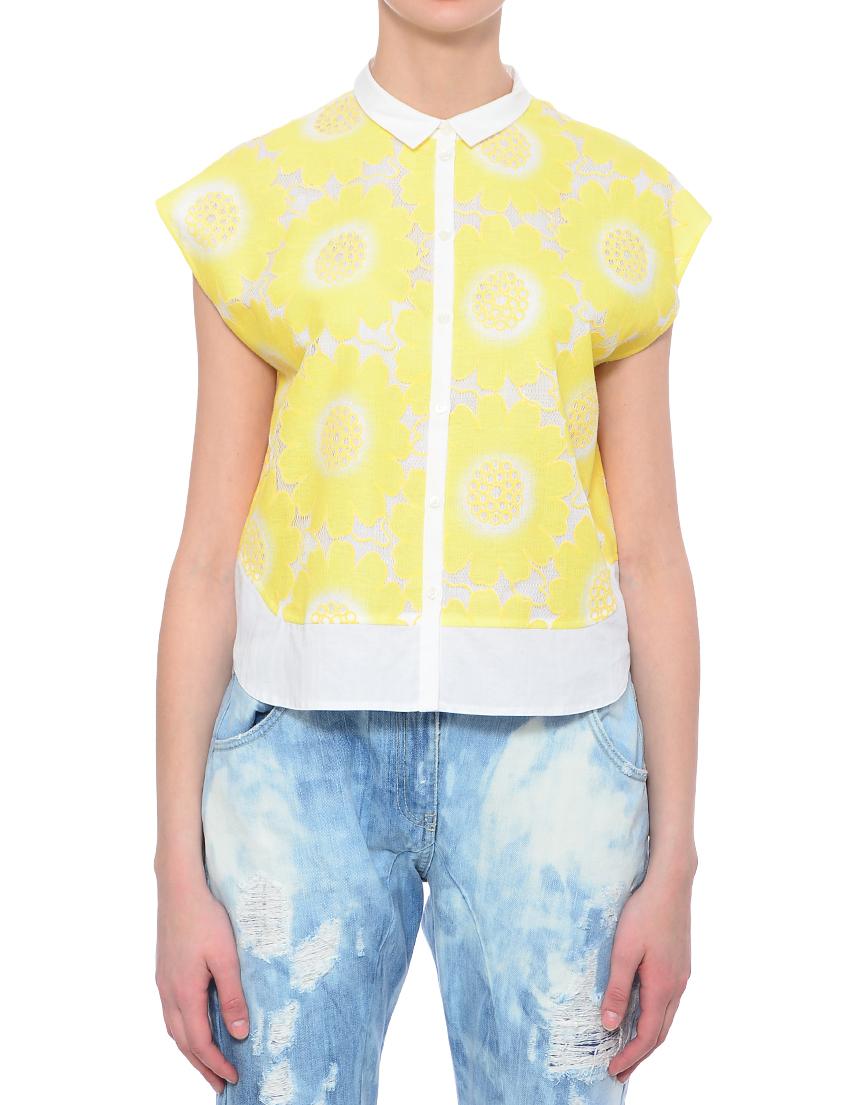 Блуза, PATRIZIA PEPE, Желтый, 55%Хлопок 45%Полиэстер, Весна-Лето  - купить со скидкой