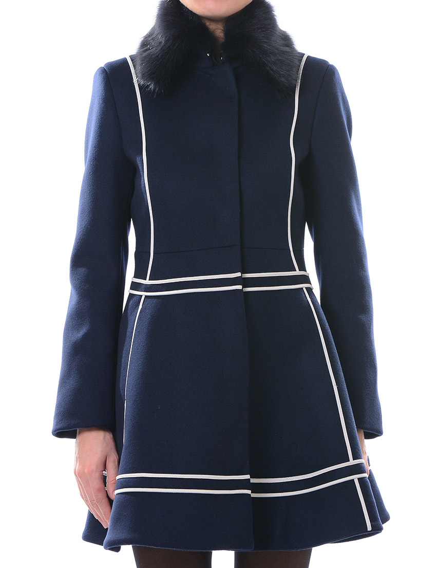 Купить Пальто, PATRIZIA PEPE, Синий, 75%Лана 25%Полиамид, Осень-Зима