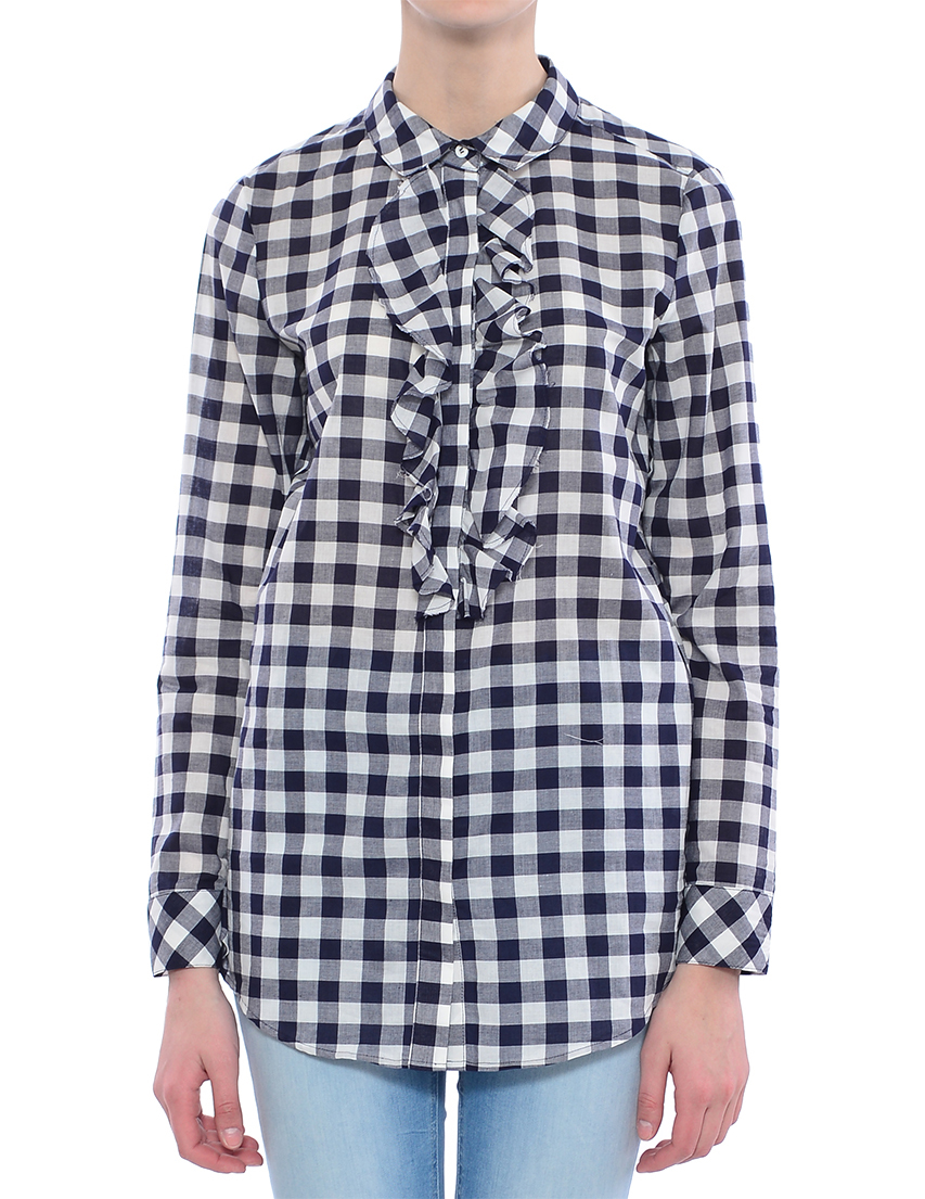 Купить Рубашка, TWIN-SET, Черный, Белый, 100%Хлопок, Весна-Лето