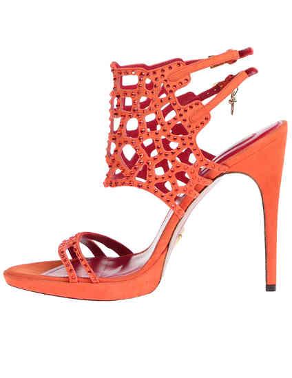 женские оранжевые замшевые Босоножки Cesare Paciotti 430610_orange - фото-5