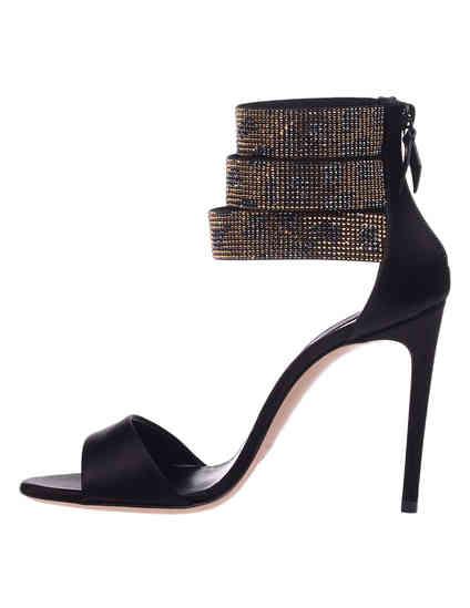 женские черные текстильные Босоножки Casadei 154_black1 - фото-5