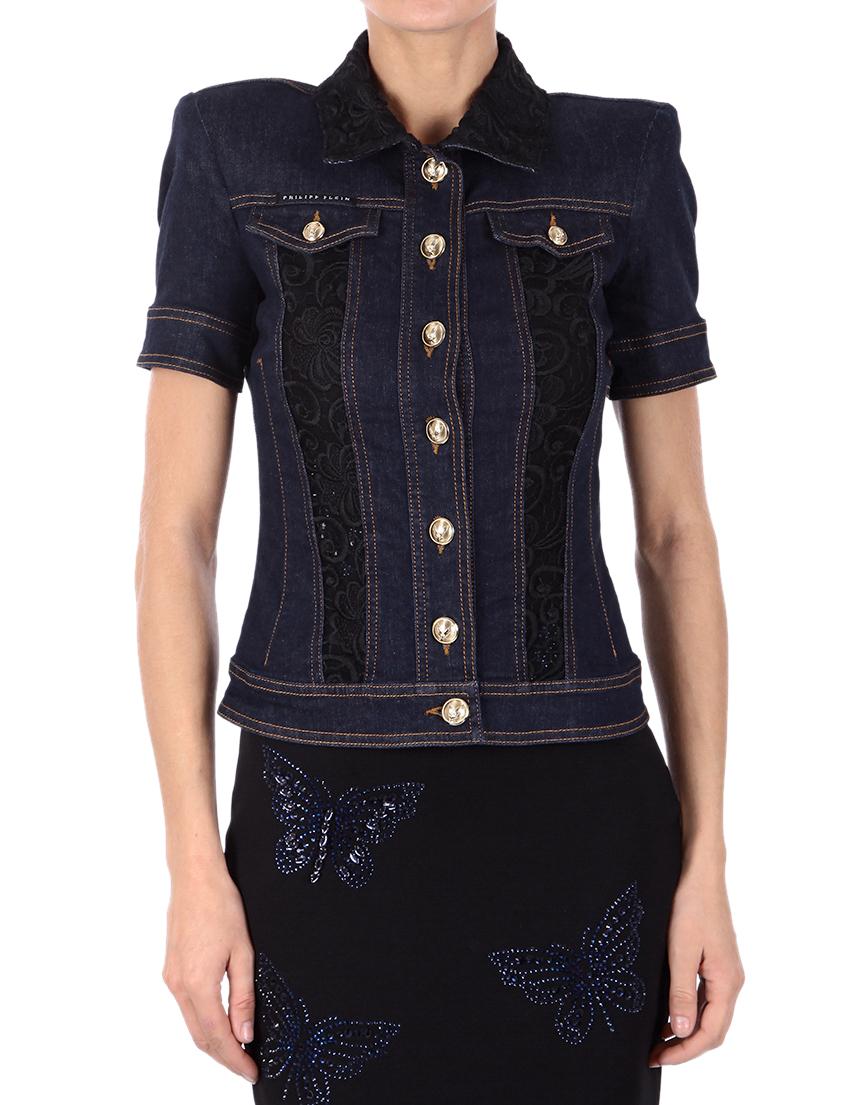 Купить Куртка, PHILIPP PLEIN, Синий, 98%Хлопок 2%Эластан, Осень-Зима