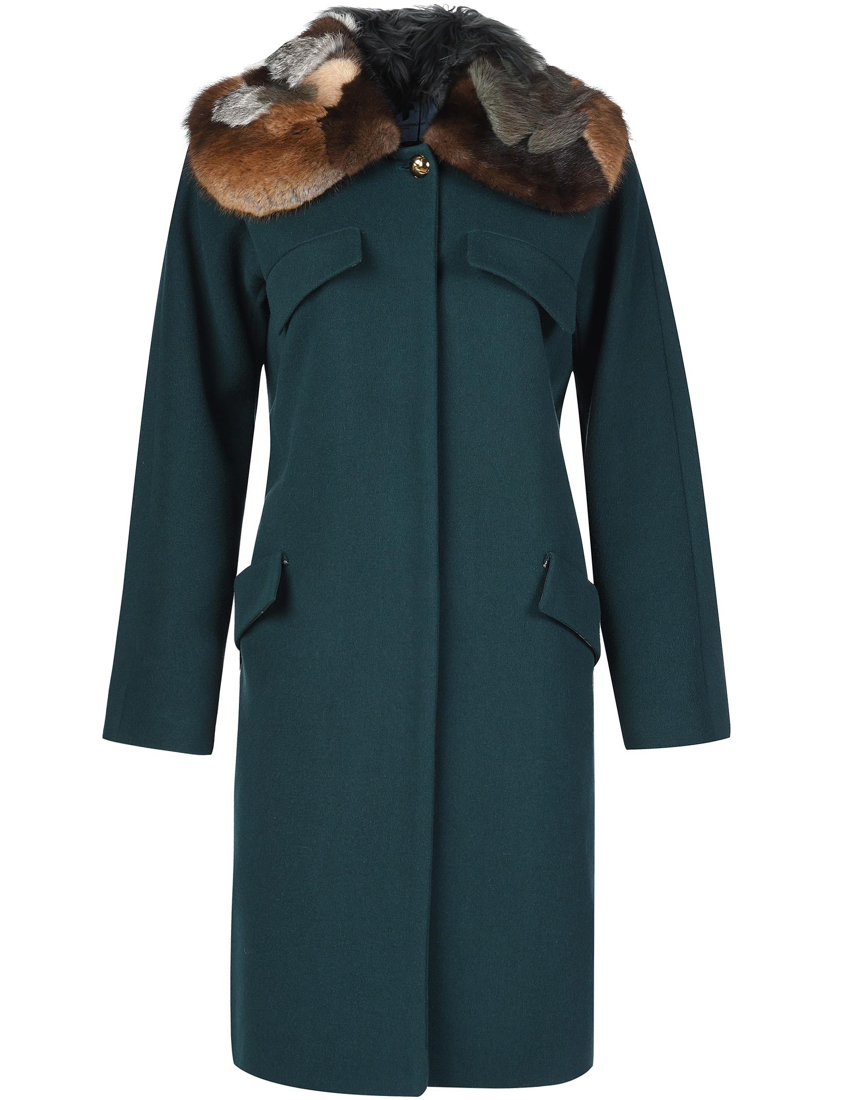 Купить Пальто, BLUMARINE, Зеленый, 100%Шерсть;57%Вискоза 43%Полиэстер, Осень-Зима