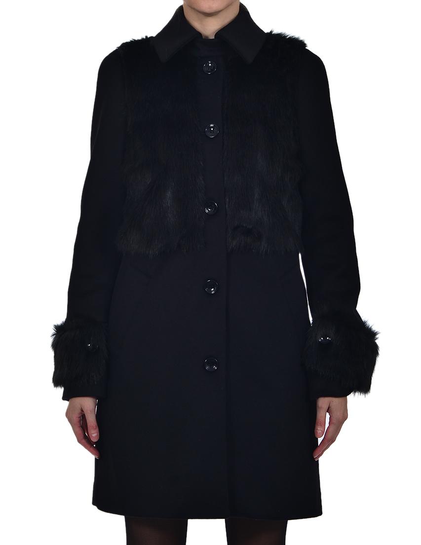 Купить Пальто, PATRIZIA PEPE, Черный, 75%Шерсть 20%Нейлон 5%Фибра, Осень-Зима