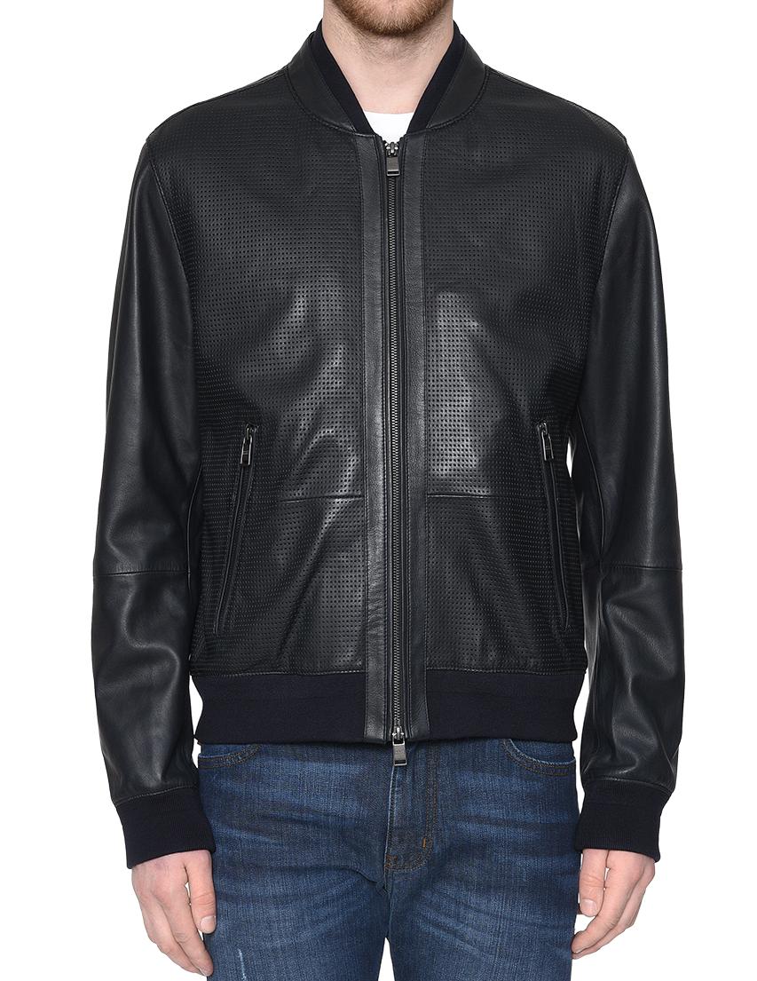 Купить Куртка, HUGO BOSS, Черный, 100%Кожа;89%Хлопок 10%Полиамид 1%Эластан, Весна-Лето