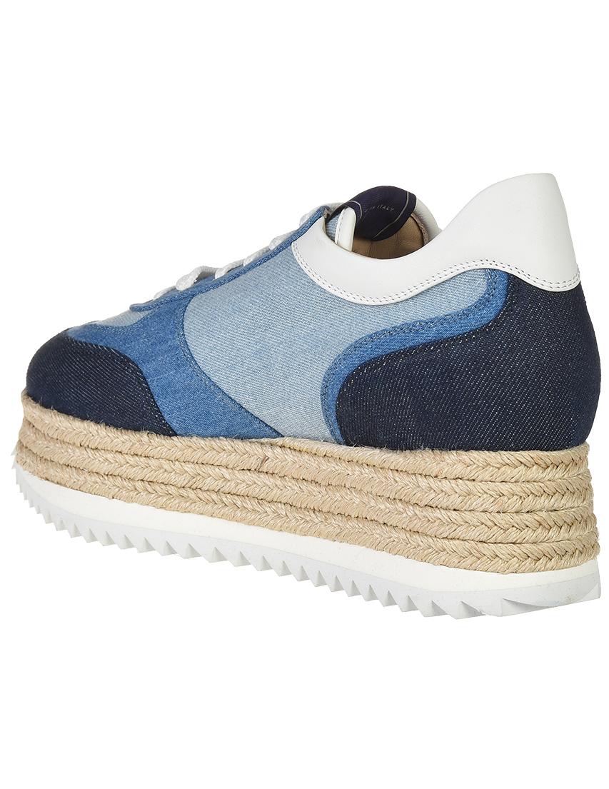 Текстильные синие кроссовки LE SILLA (ITALY)