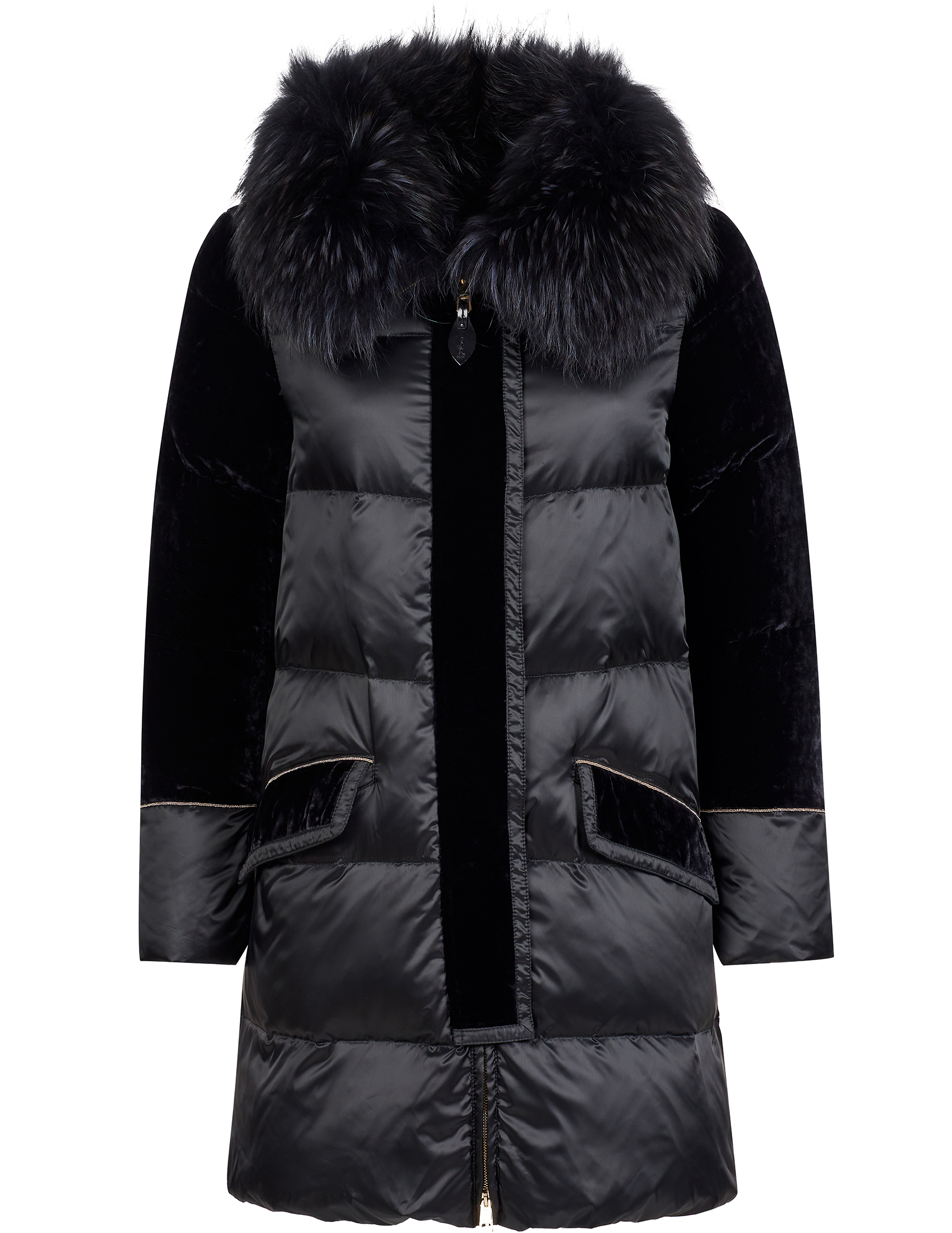 Купить Куртки, Куртка, GALLOTTI, Черный, 100%Полиэстер;82%Вискоза 18%Шелк;100%Мех, Осень-Зима