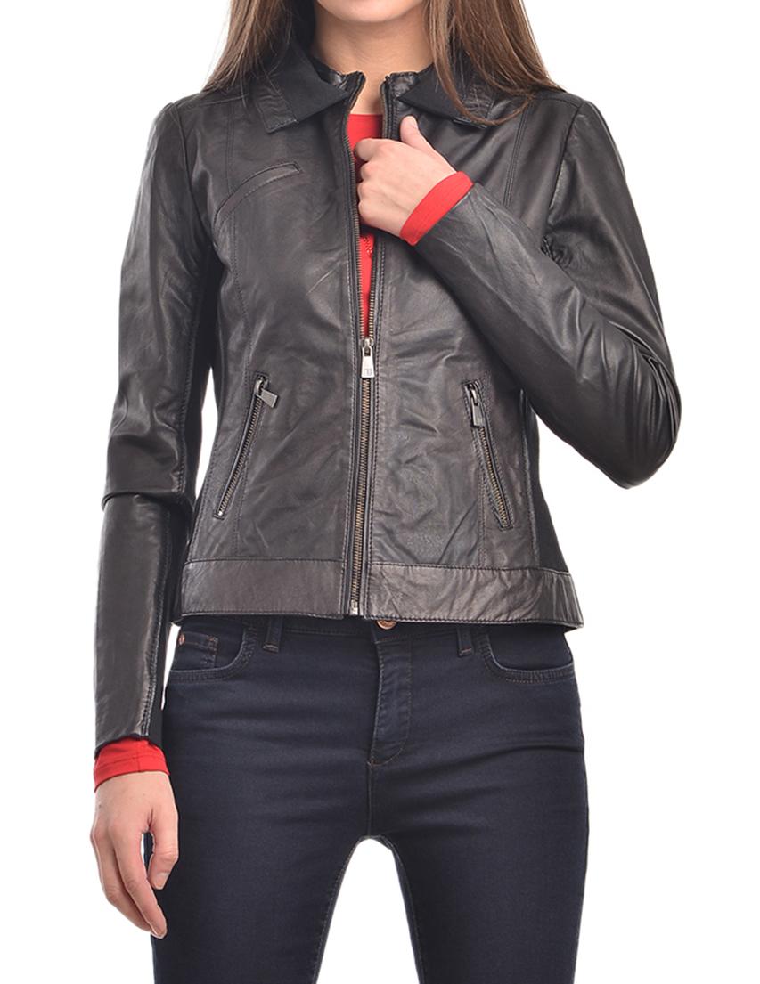 Купить Куртки, Куртка, TRUSSARDI JEANS, Черный, 100%Кожа, Осень-Зима
