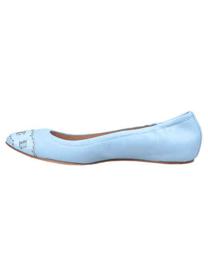 женские голубые кожаные Балетки Casadei 135_blue - фото-5