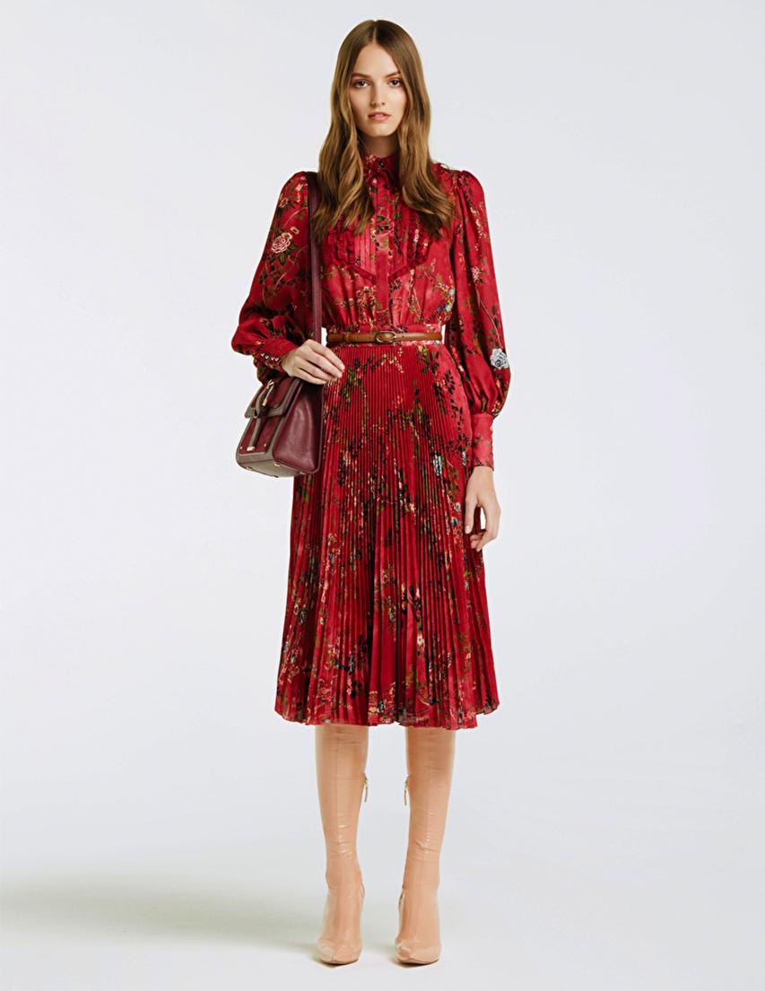 Купить Платье, ELISABETTA FRANCHI, Бордовый, 100%Полиэстер, Осень-Зима