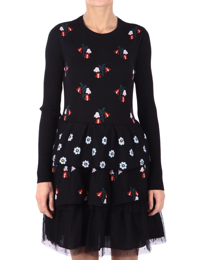 Купить Платье, RED VALENTINO, Черный, 100%Шерсть;96%Полиэстер 4%Эластан, Осень-Зима