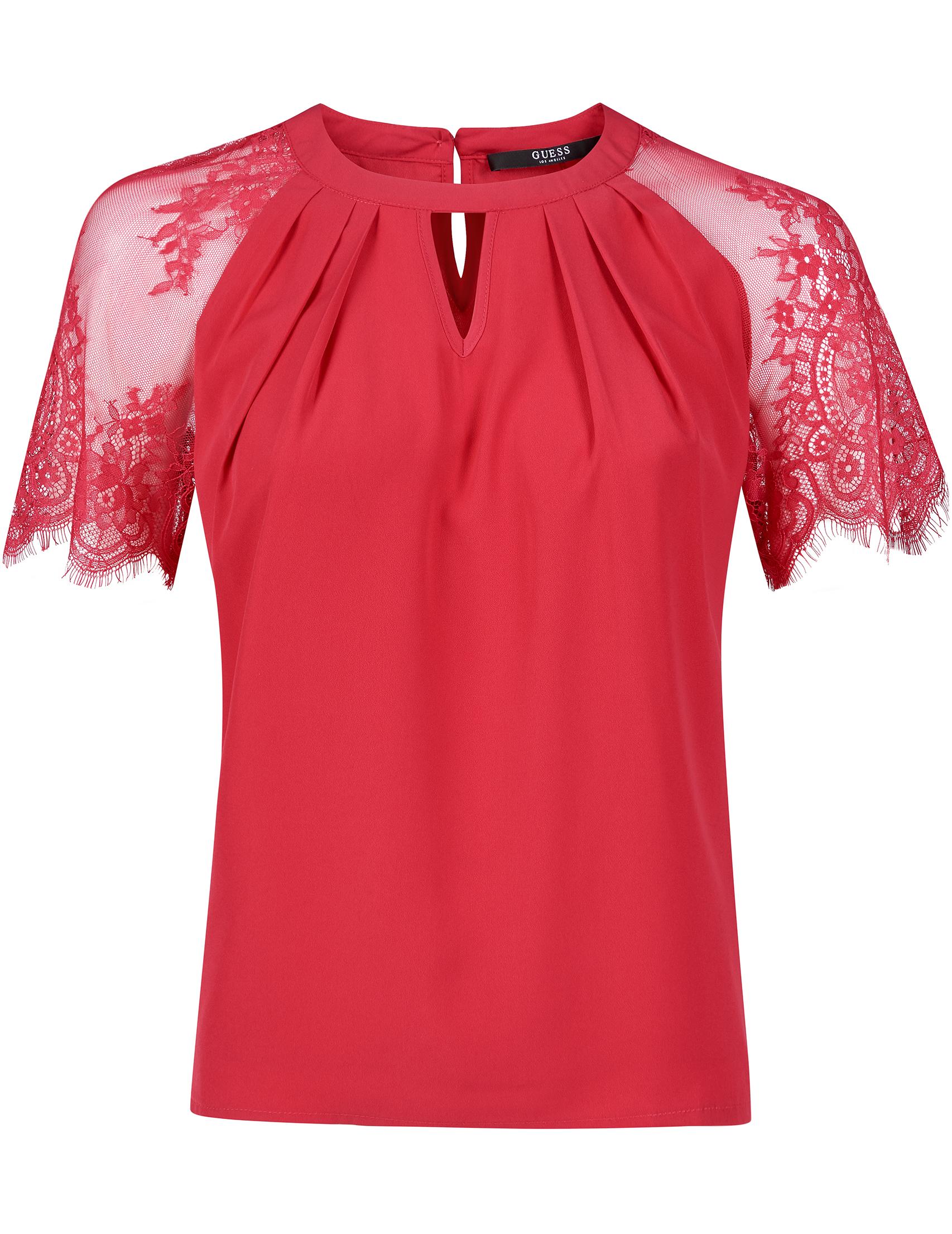 Купить Блузы, Блуза, GUESS, Красный, 100%Полиэстер, Весна-Лето