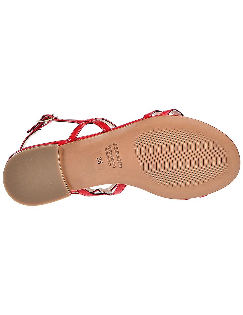 Фото 6 - женские сандали  красного цвета