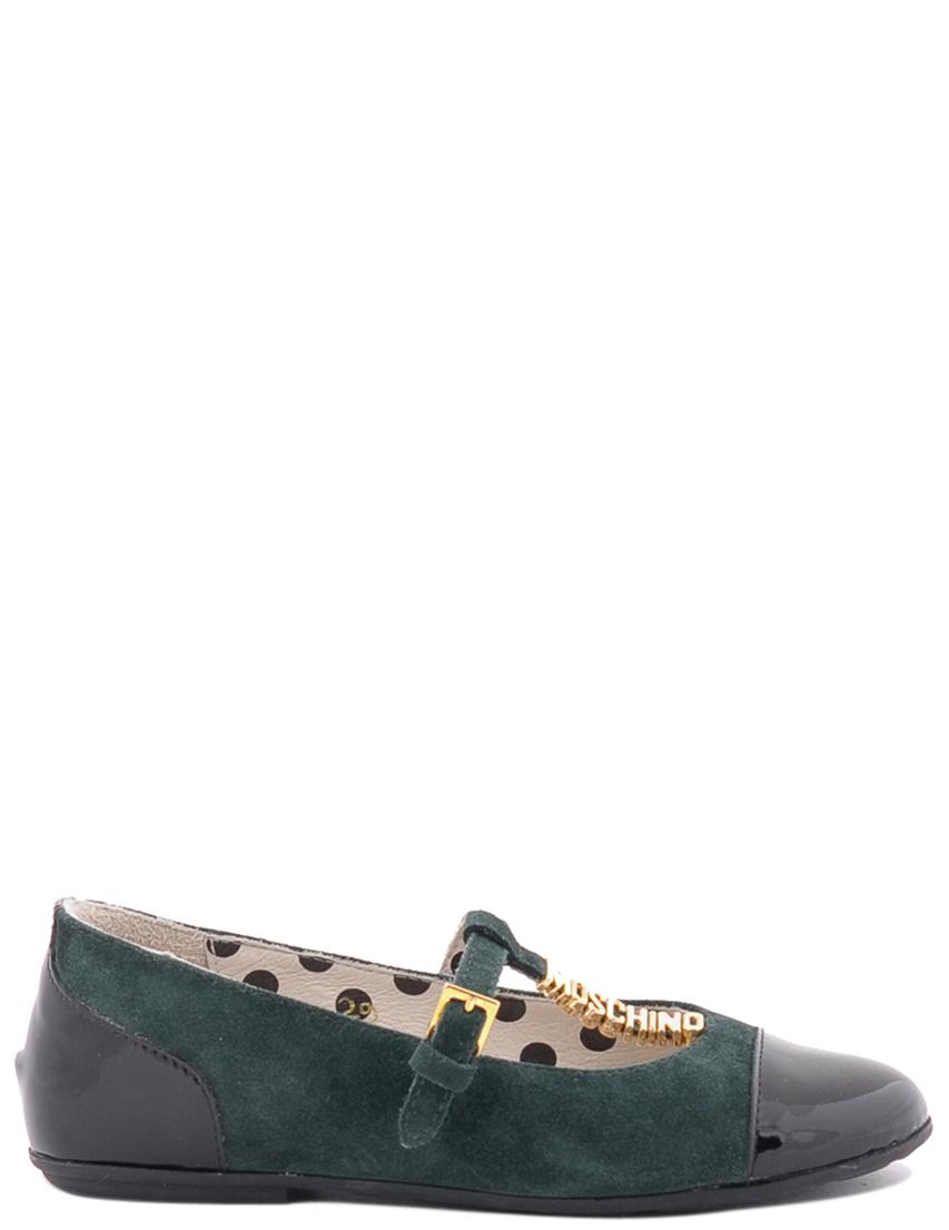 Детские туфли для девочек MOSCHINO 25375nero-verde