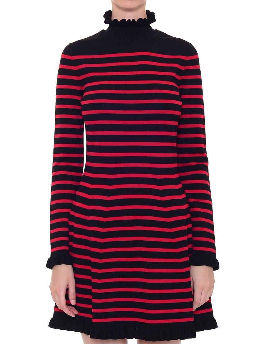Купить Платье, RED VALENTINO, Черный, Красный, 75%Вискоза 25%Полиамид, Осень-Зима
