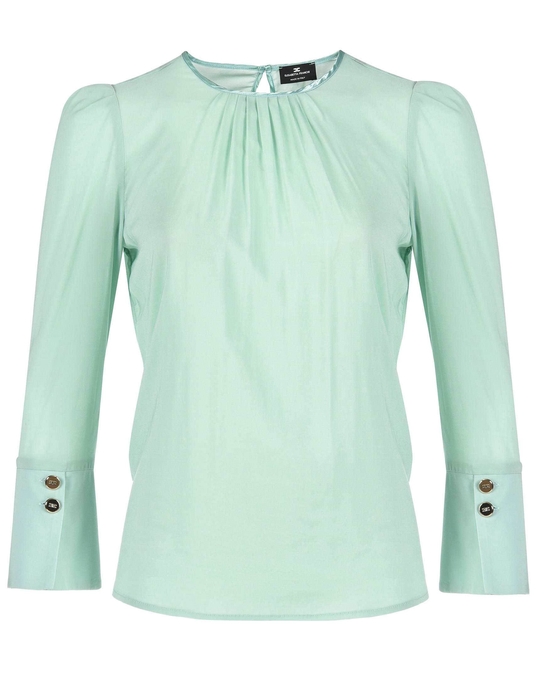 Купить Блузы, Блуза, ELISABETTA FRANCHI, Зеленый, 92%Вискоза 8%Эластан, Весна-Лето