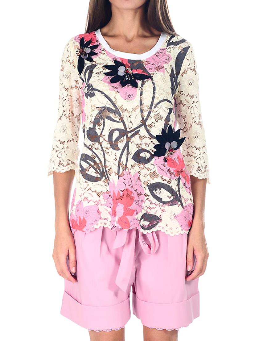 Купить Блуза, TWIN-SET, Многоцветный, 100%Хлопок, Весна-Лето