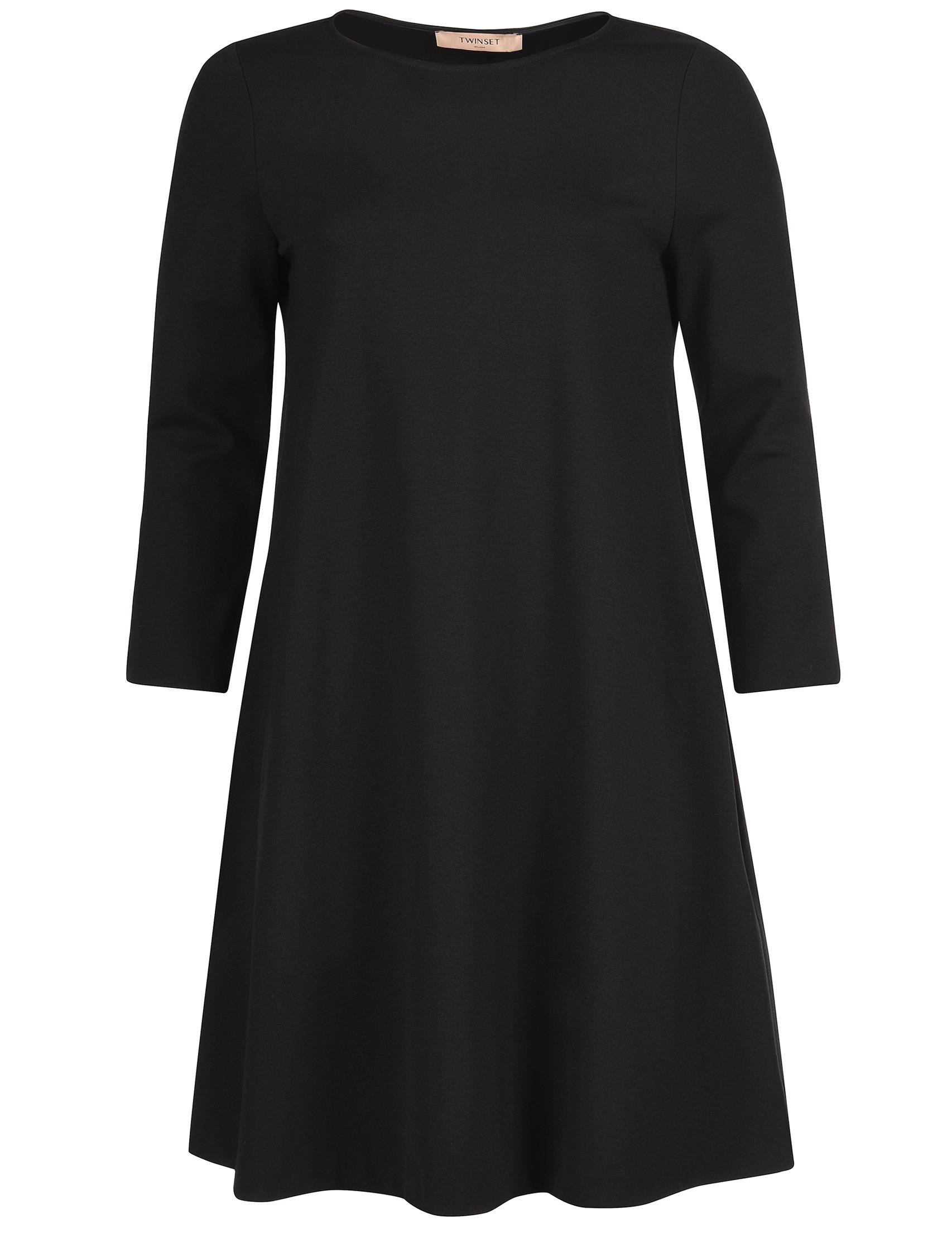 Купить Платье, TWIN-SET, Черный, 68%Вискоза 27%Полиамид 5%Эластан, Осень-Зима