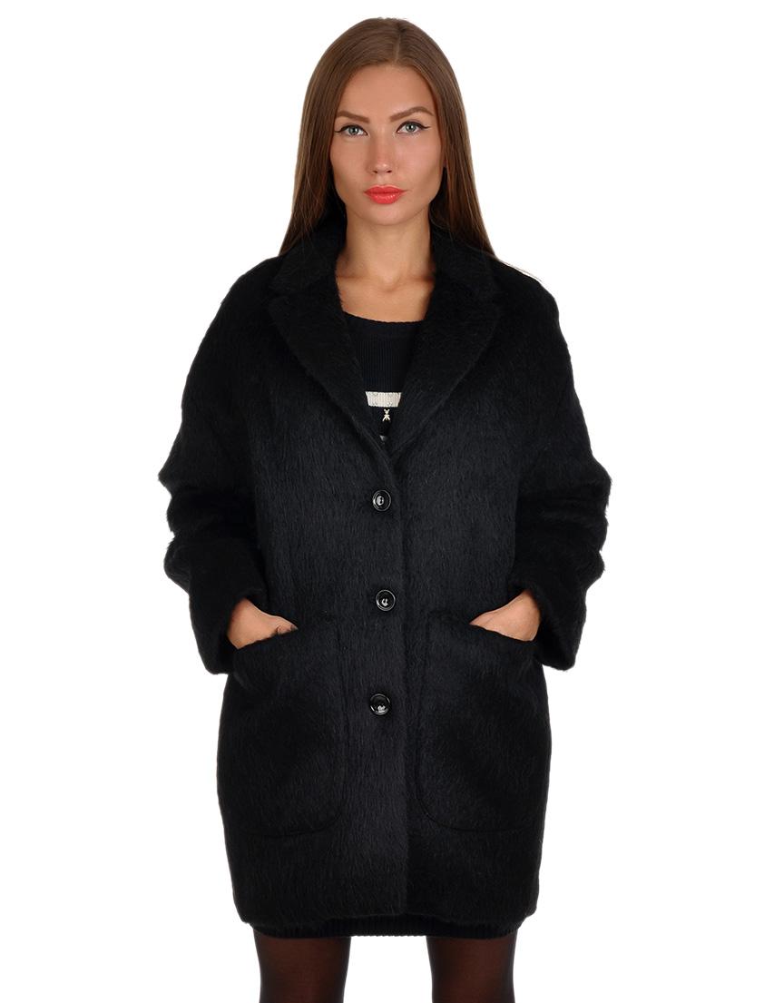 Купить Пальто, PATRIZIA PEPE, Черный, 18%Альпака 4%Хлопок 16%Лана 18%Махер 14%Полиамид 30%Полиэстер, Осень-Зима