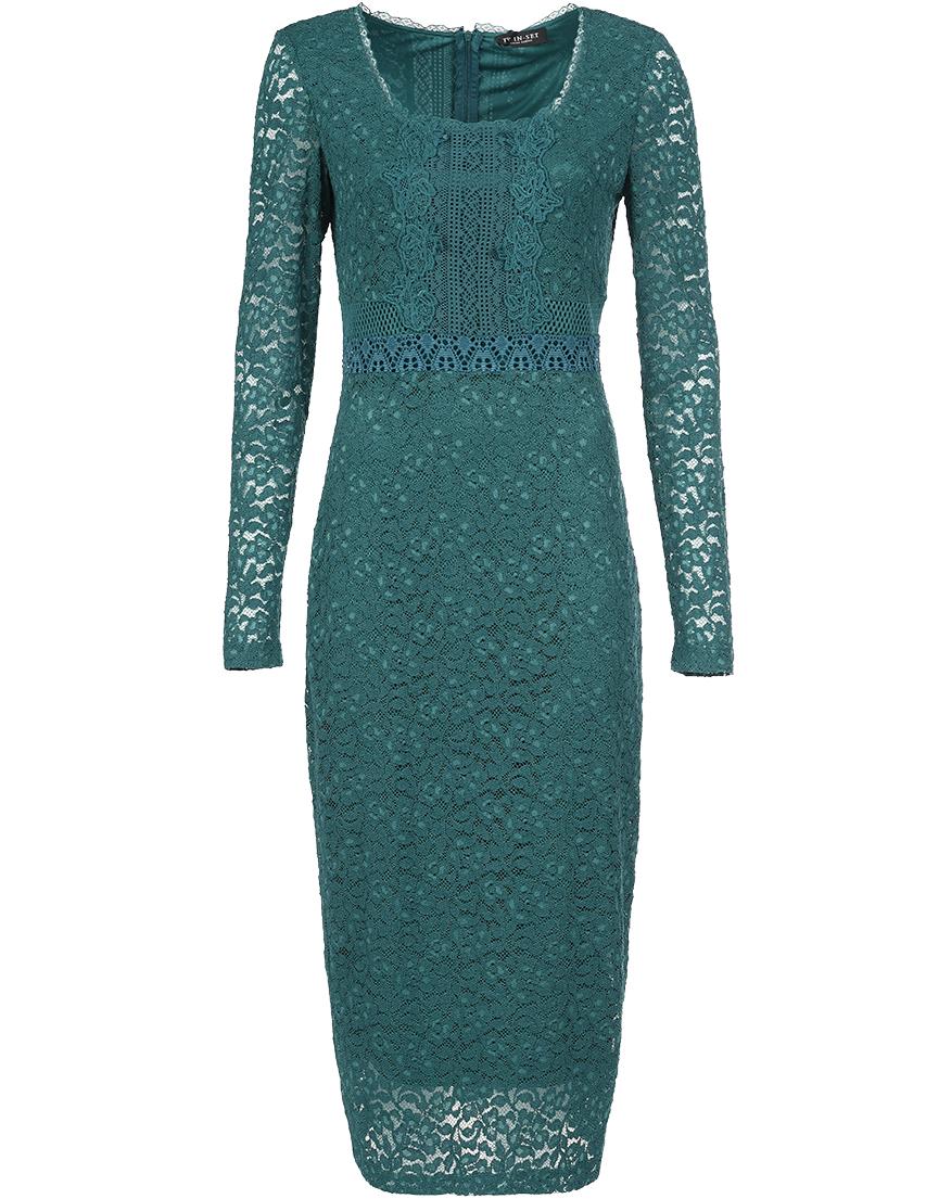 Купить Платье, TWIN-SET, Зеленый, 51%Хлопок 46%Полиамид 2%Вискоза 1%Эластан, Осень-Зима