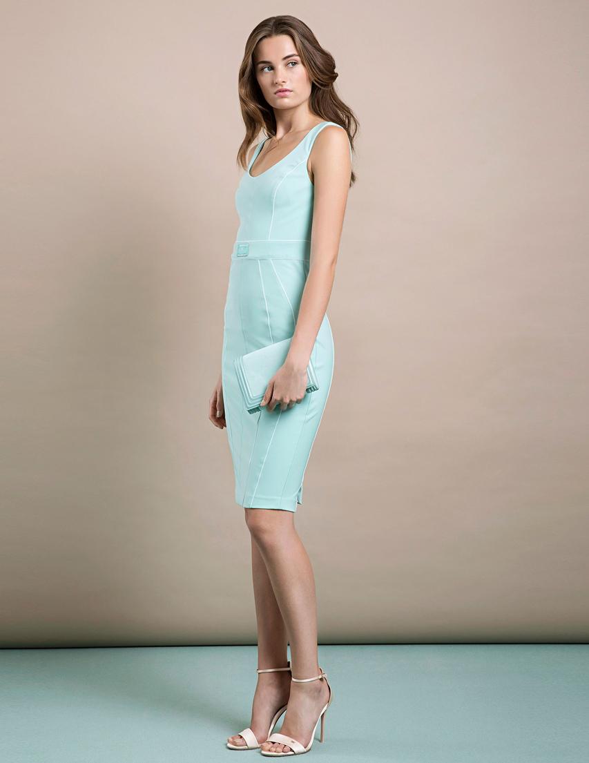 Купить Платье, ELISABETTA FRANCHI, Зеленый, 16%Эластан 84%Полиамид, Весна-Лето