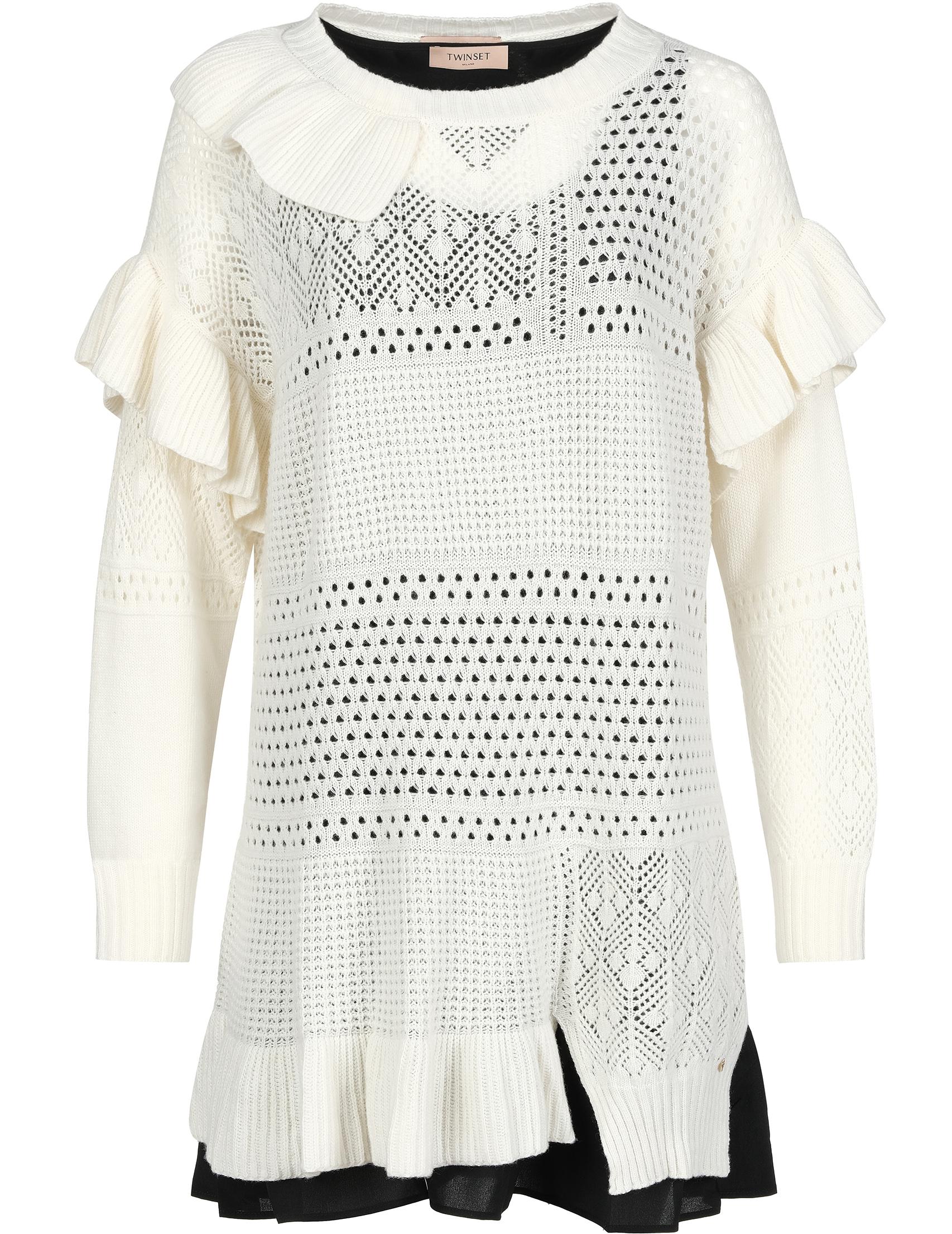 Купить Платья, Платье, TWIN-SET, Белый, 35%Полиамид 30%Вискоза 30%Шерсть 5%Кашемир;100%Полиэстер, Осень-Зима