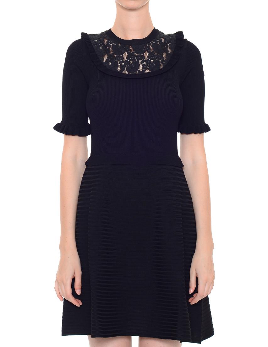 Платье, RED VALENTINO, Черный, 75%Вискоза 25%Полиамид, Осень-Зима  - купить со скидкой