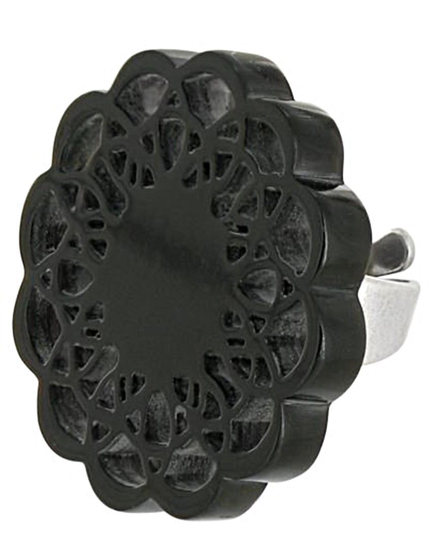 Купить Кольца, Кольцо, NATURE BIJOUX, Черный, Полированный рог, антиаллергенный сплав, Осень-Зима