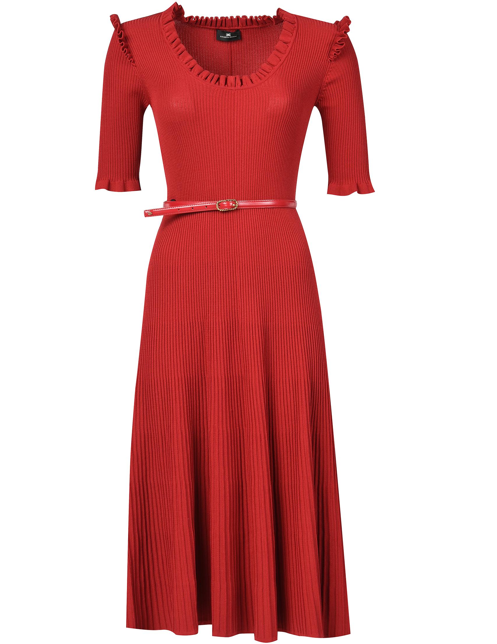 Купить Платье, ELISABETTA FRANCHI, Красный, 78%Вискоза 22%Полиамид, Осень-Зима