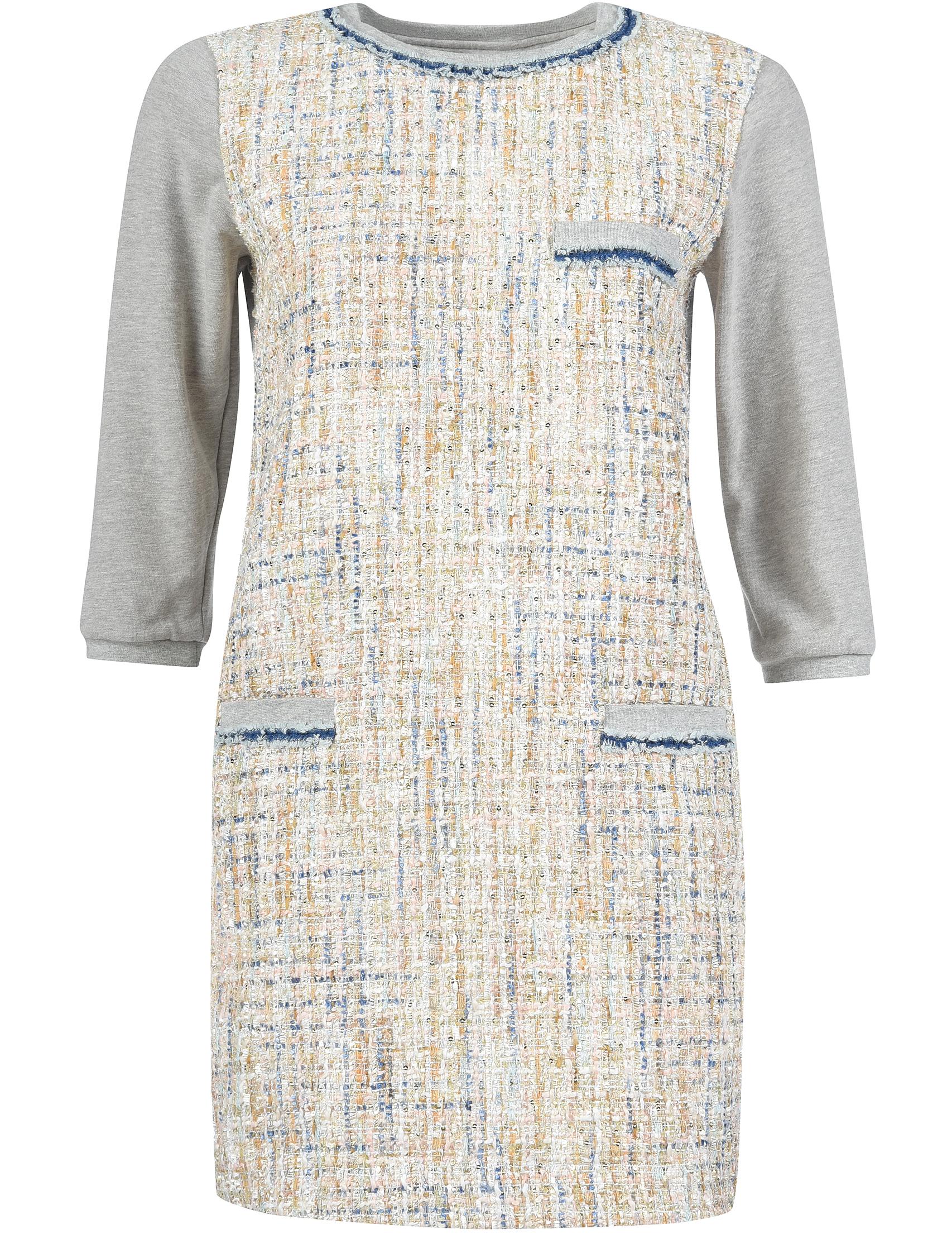 Купить Платье, TWIN-SET, Серый, 100%Хлопок;72%Полиэстер 11%Хлопок 10%Викоза 4%Ацетат 3%Полиэстер, Осень-Зима