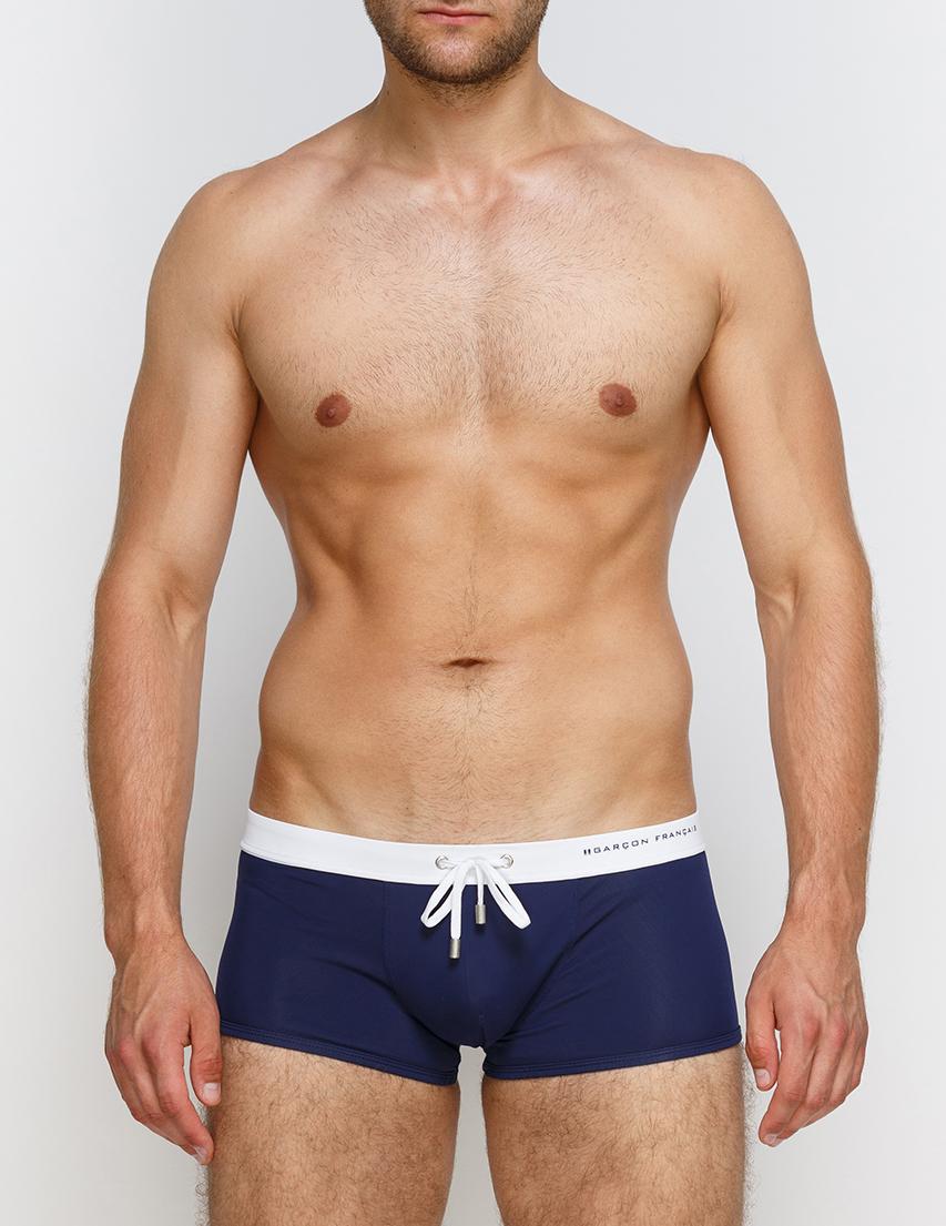 Мужские плавки пляжные GARCON FRANCAIS Boxer-de-Bain17-Marine-Blanc_blue