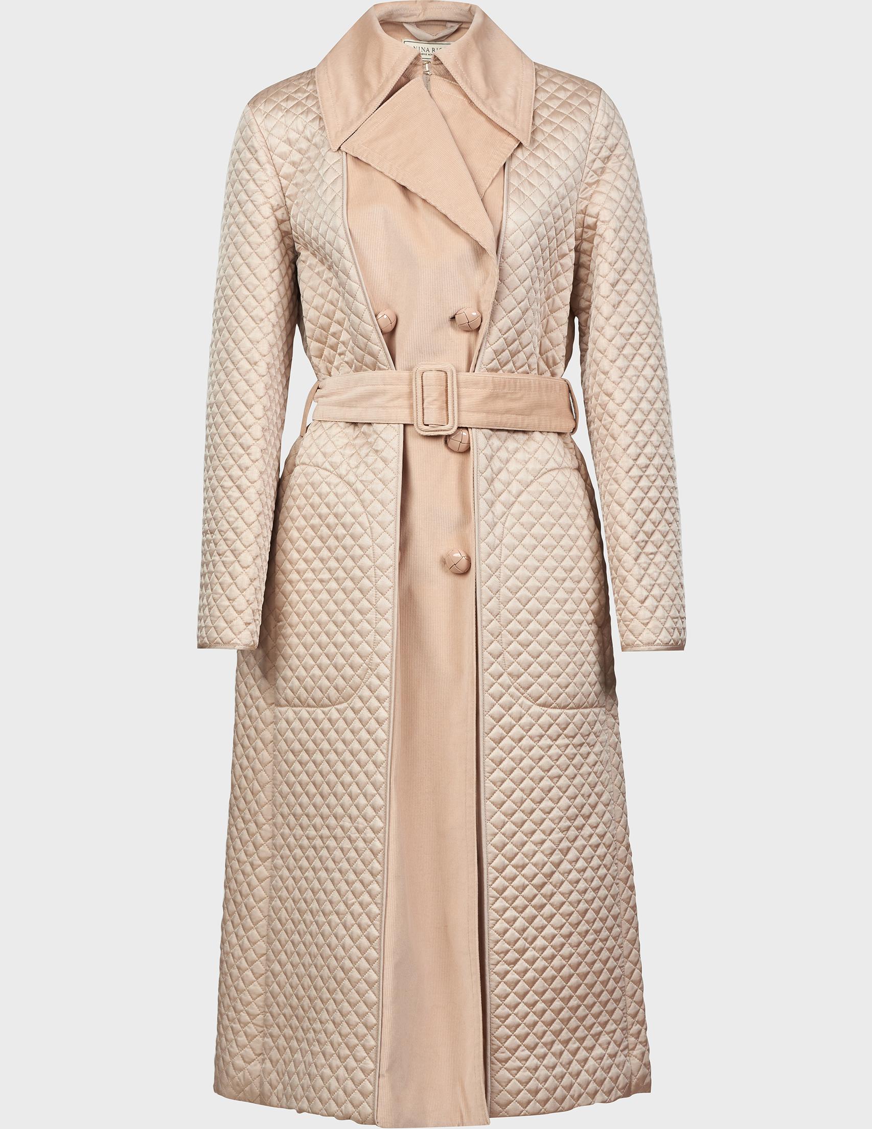 Купить Пальто, NINA RICCI, Бежевый, 98%Хлопок 2%Эластан, Осень-Зима