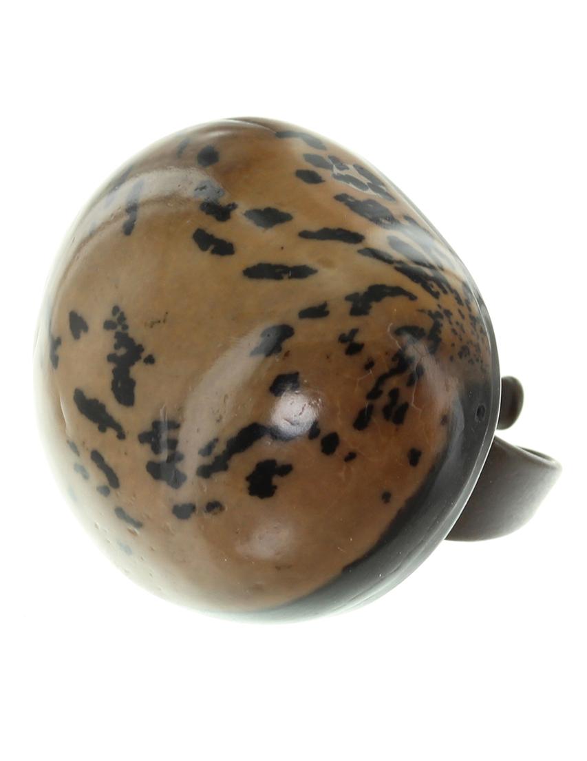Купить Кольцо, NATURE BIJOUX, Коричневый, Тагуа (пальмовая семечка), мех норки, антиаллергенный сплав, Осень-Зима